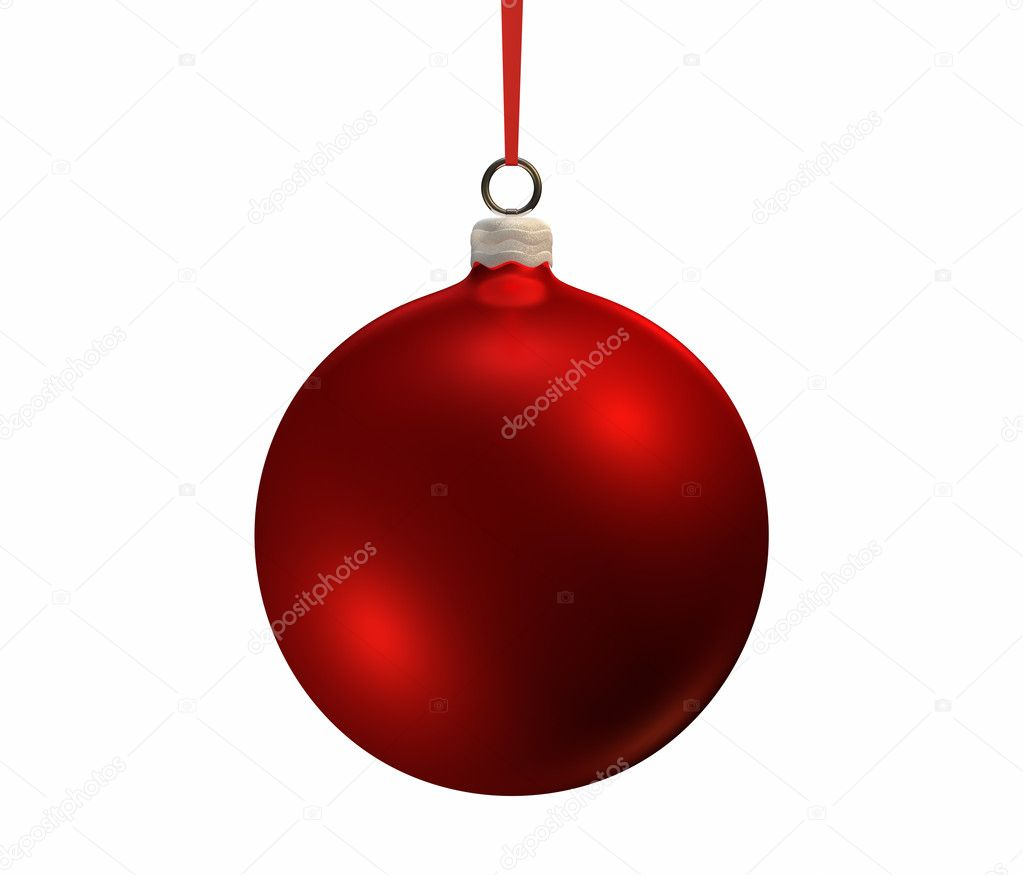 Red christmas bulb on white background, isolated 3d render — Stock Photo #4676651