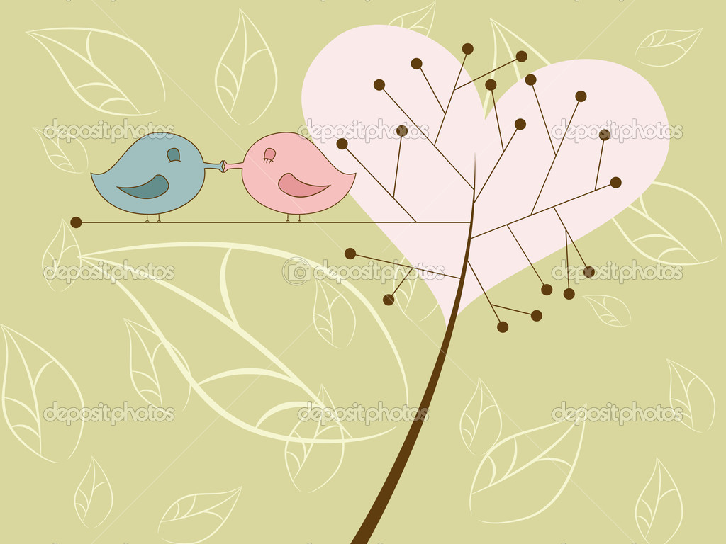 Vector picture of kissing birds — Imagen vectorial #4265932