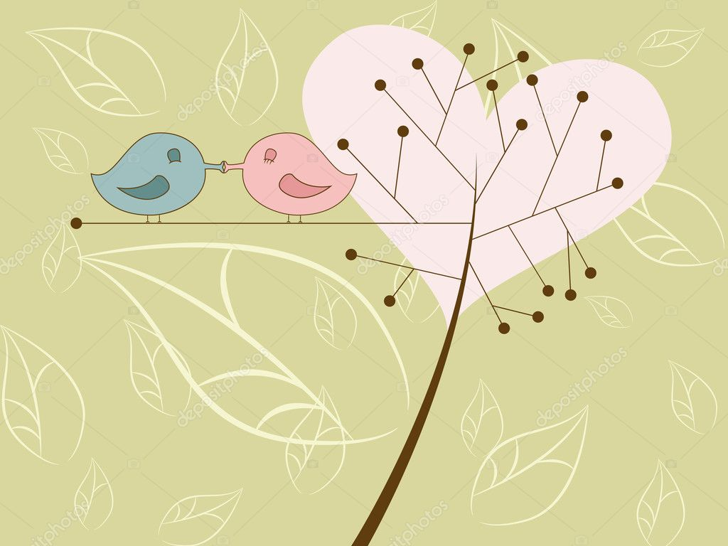 Vector picture of kissing birds — Vektorgrafik #4265932