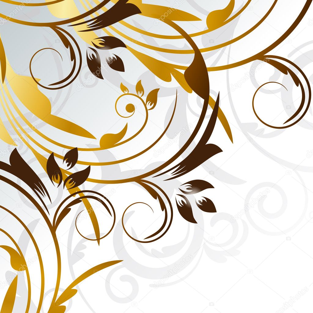 Vector picture of gold curves with silver  background  Stock Vector #4304630