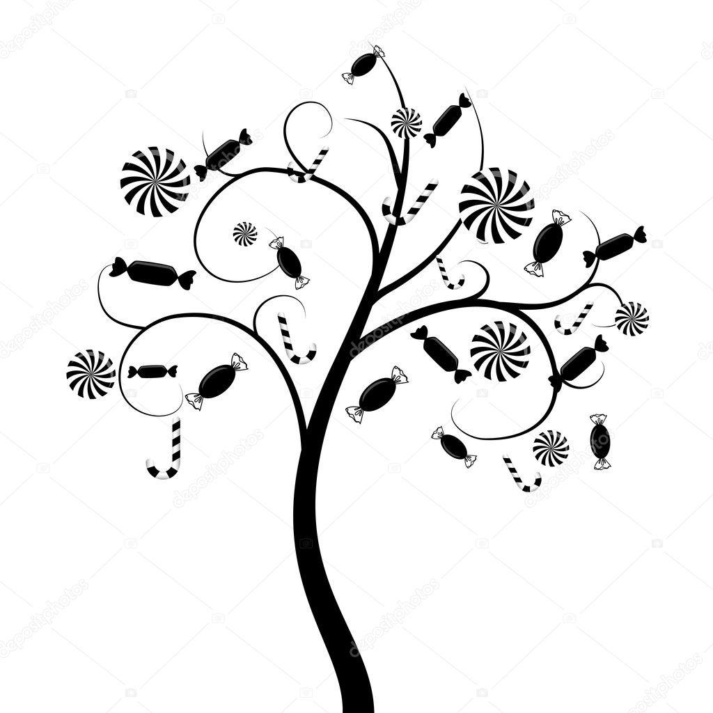 用糖果矢量树剪影– 图库插图