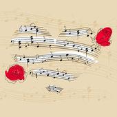 Music heart — Stock Vector