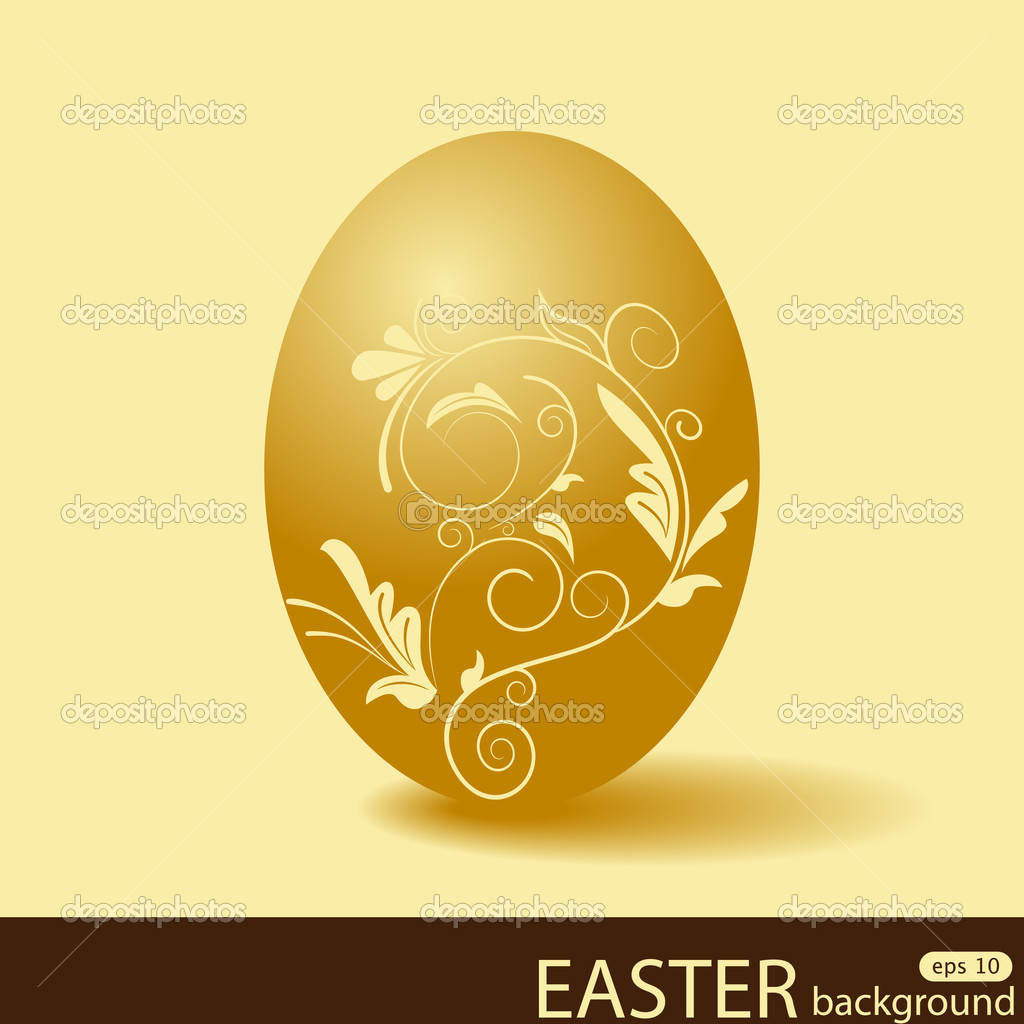 Vector picture with golden easter egg — Stock Vector #5278107
