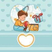 Kind met een verjaardagscadeau — Stockvector