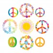 Set of colorful peace symbols — Image vectorielle