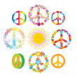 ensemble de symboles de paix coloré — Vecteur