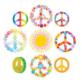 Set of colorful peace symbols — Stock Vector