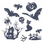diferentes iconos de halloween — Vector de stock