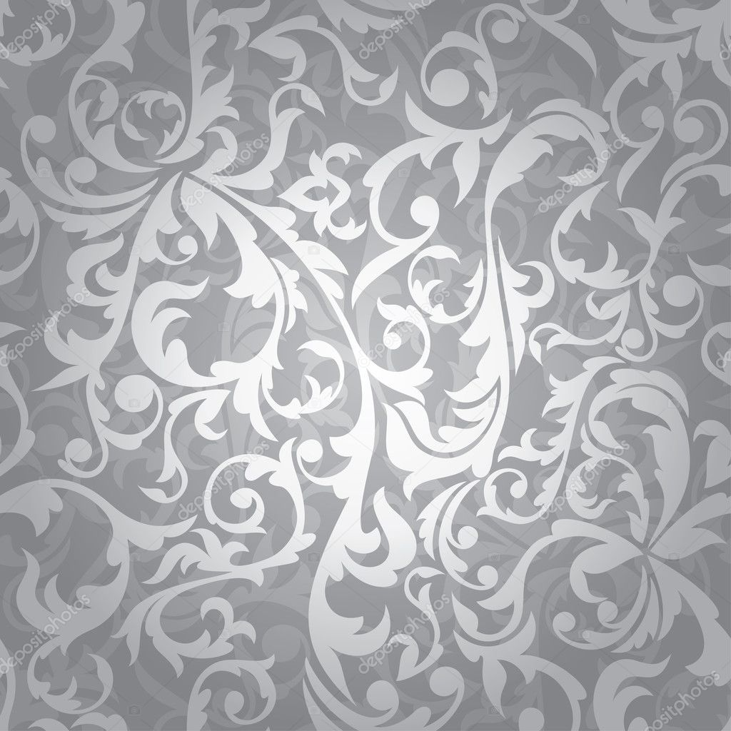 Abstract seamless silver floral background vector illustration — Imagen vectorial #4871708