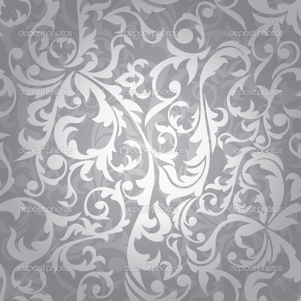 Abstract seamless silver floral background vector illustration  Stock Vector #4871708