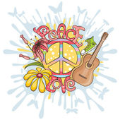 Peace and love vector illustration — Stock Vector