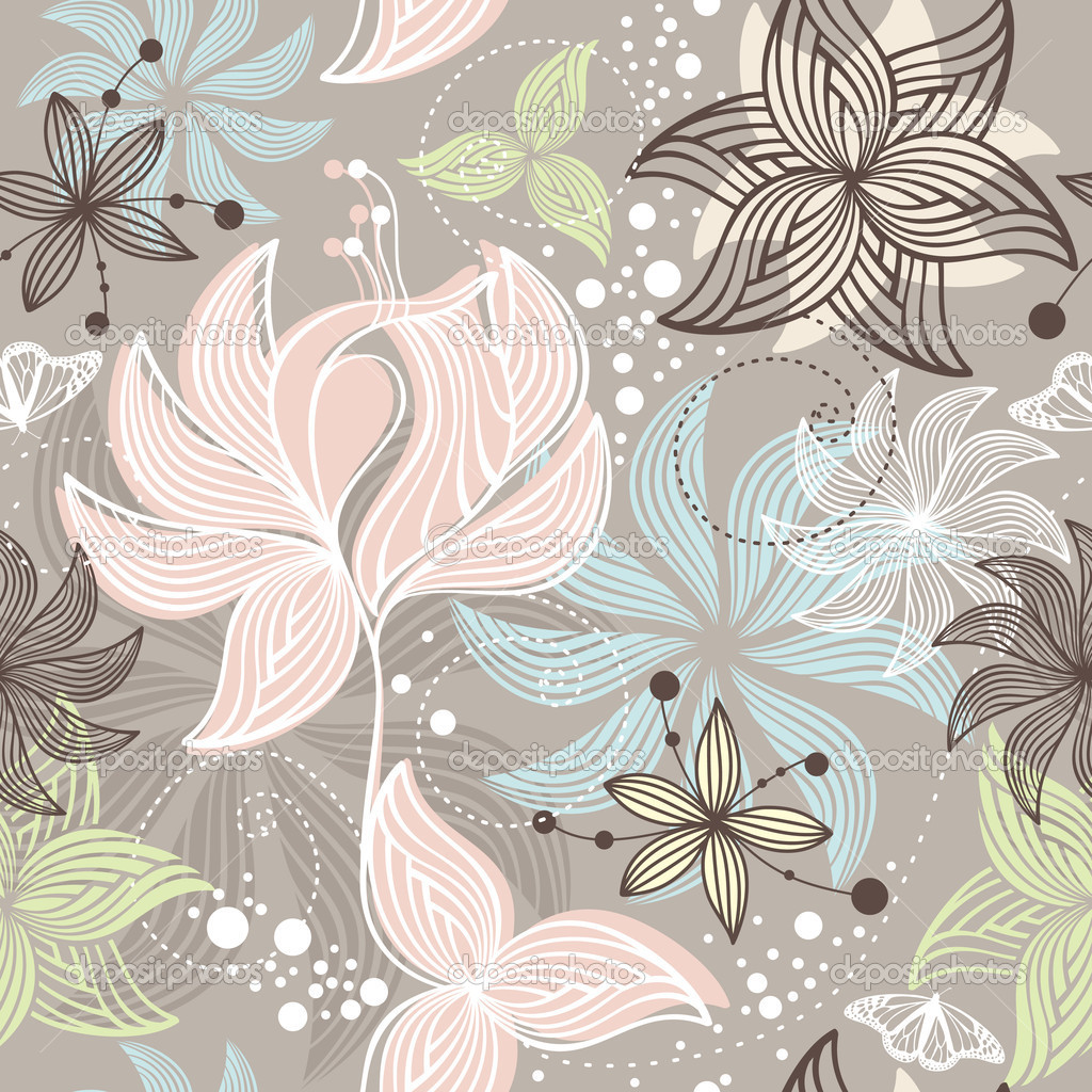 Abstract seamless cute floral background vector illustration — Stock Vector #5053718