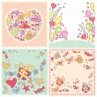 Set of birthday cards - Stock Vector