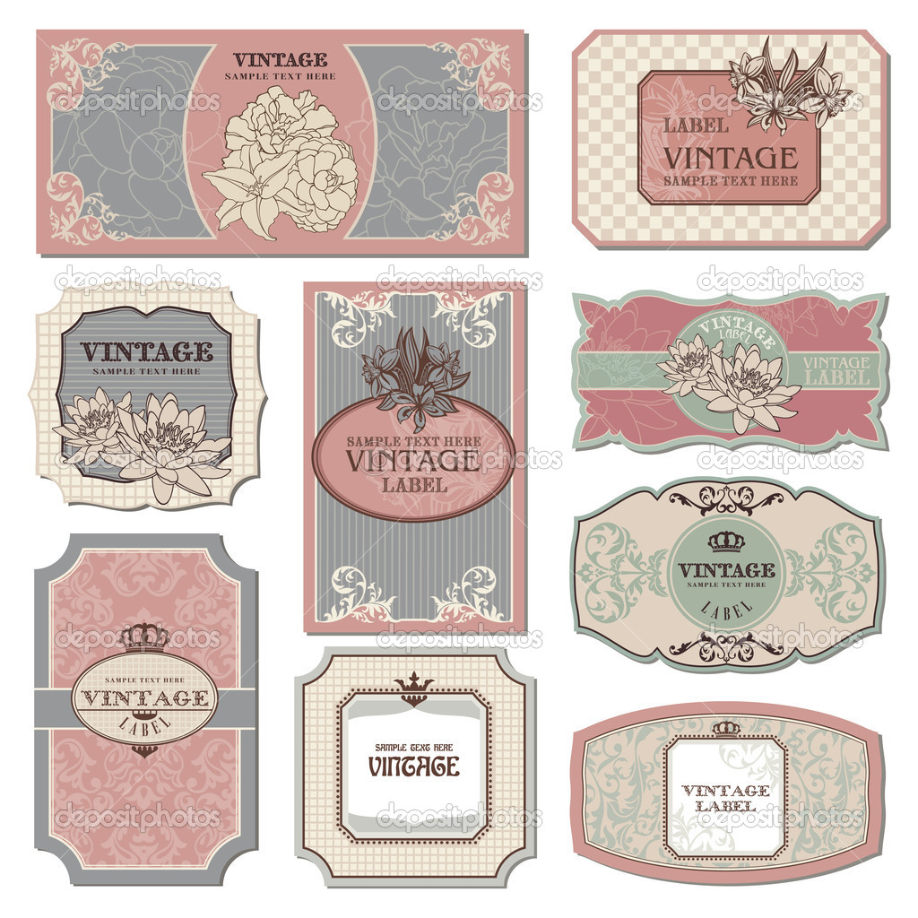 Set of retro vintage labels vector illustration — Stock Vector #5222027