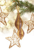Branch with Christmas decorations — Stock Photo