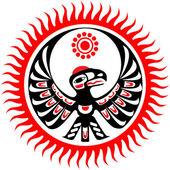 Mythological image eagle and sun — Stock Vector