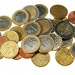 Foto de Stock  : Euro coins isolated on white