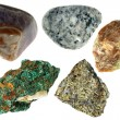 Minerals of Halkopirit, Disgraces, Granite, Malachite, Amethyst — Stock Photo