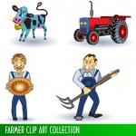 Farmer clip art collection — Stock Vector
