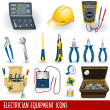 Electrician equipment icons — Stock Vector #4055625