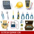 Electrician equipment icons — Stock Vector