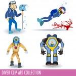 Diver clip art collection — Stock Vector