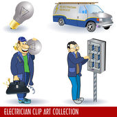 Electrician clip art collection — Stock Vector