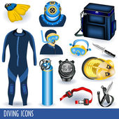 Diving icons — Stock Vector