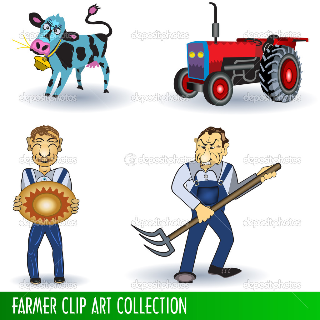 depositphotos 4055595 Farmer clip art collection American Flag as background for Clip Art Illustration for your design.
