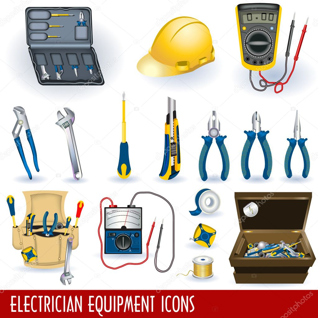 Collection of different electrician tools and equipment grouped separately and isolated on white background. — Stock Vector #4055625
