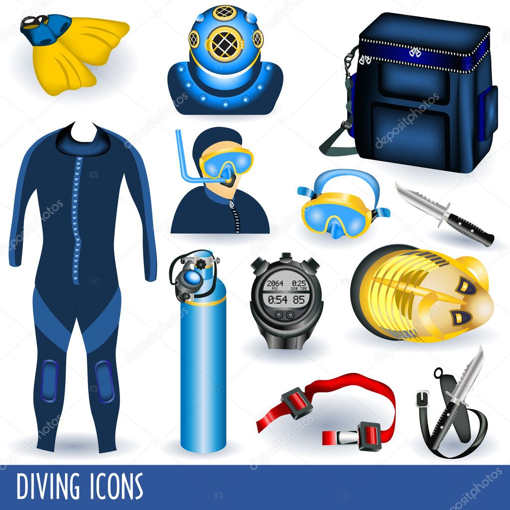 Set of 12 different diving icons isolated differently on white background — Stock Vector #4055680