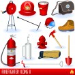 Stock Vector: Firefighter icons