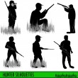Hunter silhouettes — Stock Vector