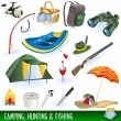 Camping, hunting and fishing — Stock Vector