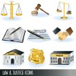 Law and justice icons — Image vectorielle