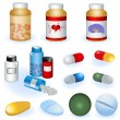 Stock Vector: Collection of pills