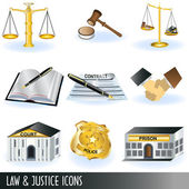Law and justice icons — Stock Vector
