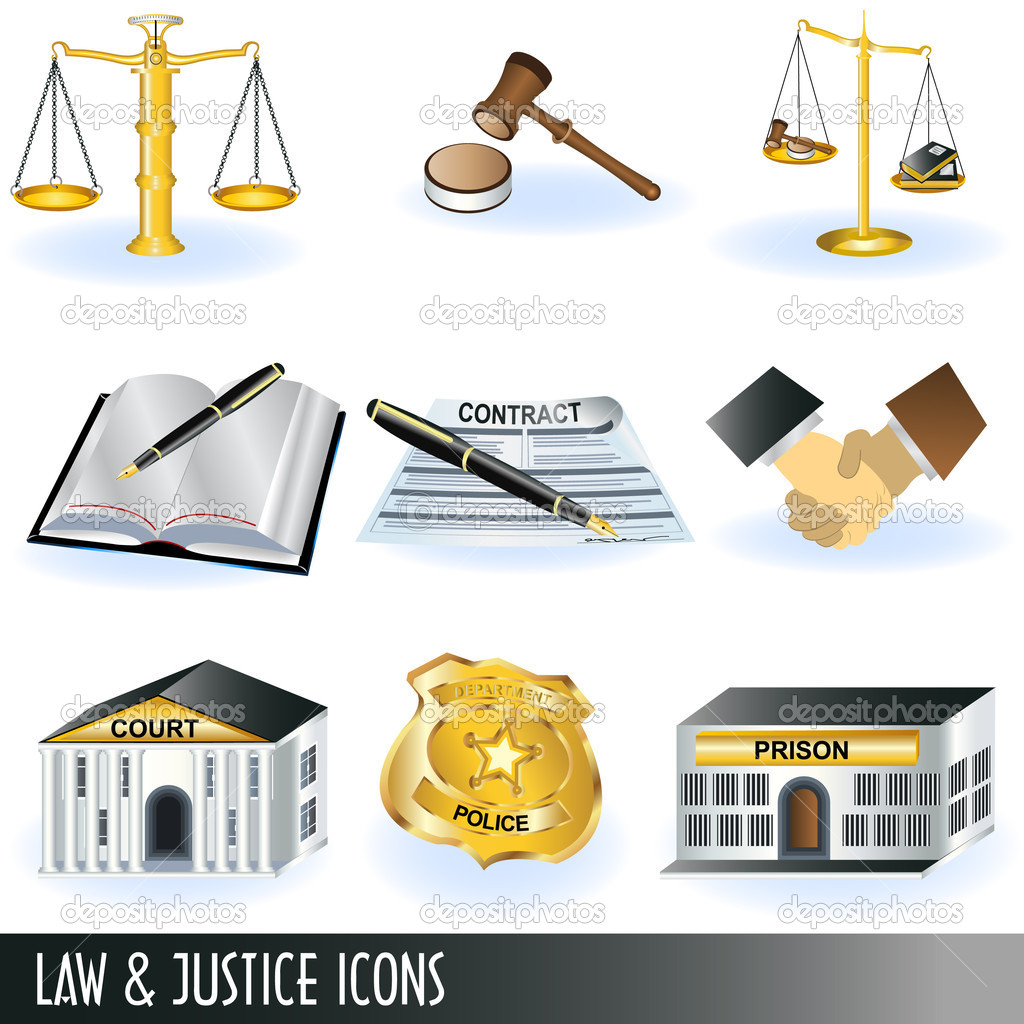 Set of 9 different law and justice icon illustrations. — Stock Vector #4530771