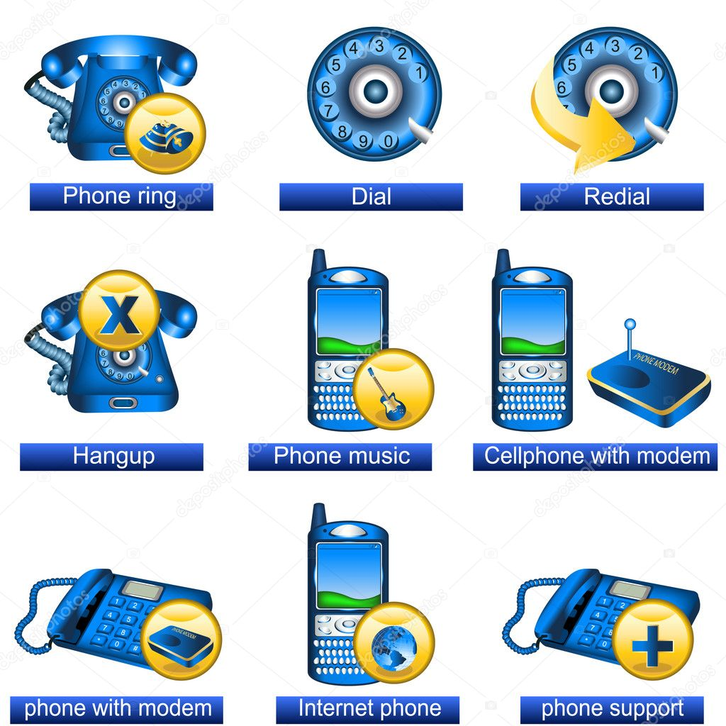 Collection of 9 blue phone icons isolated separately on white background. - part 2  Stock Vector #4530836