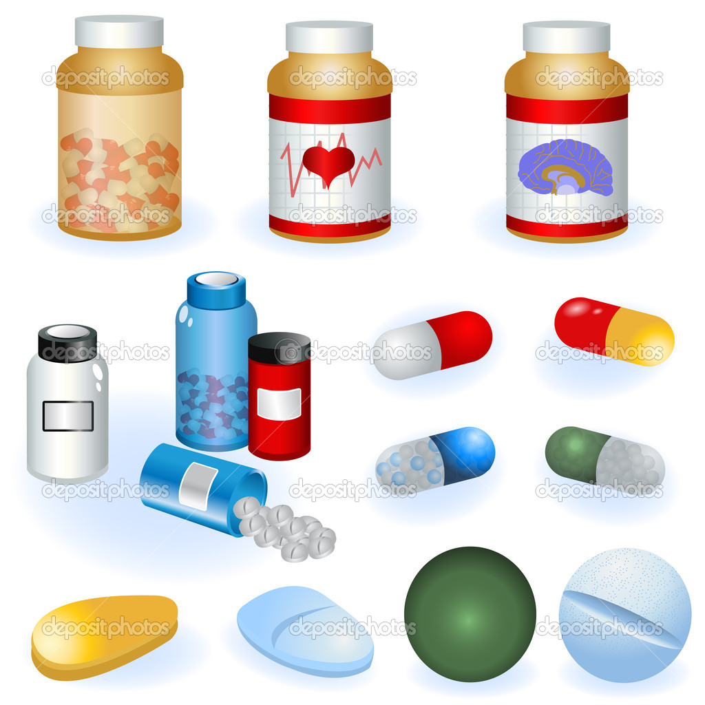 Collection of different pills and pill bottles vector illustration.  Stock Vector #4530882