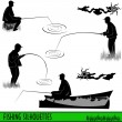 Stock Vector: Fishing silhouettes