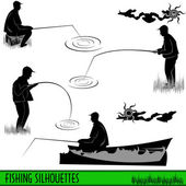 Fishing silhouettes — Stock Vector