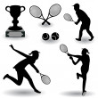 Tennis silhouettes - Stock Vector