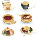 Çin yemeği koleksiyonu — Stok Vektör