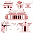 Chinese outlined traditional buildings - Stock Vector