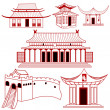 Royalty-Free Stock Vector Image: Chinese outlined traditional buildings