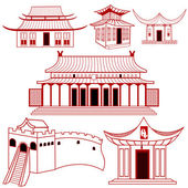 Chinese outlined traditional buildings — Stock Vector