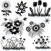 Collection of flowers 1 — Stock Vector