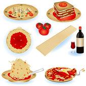 Italian food illustrations — Stock Vector