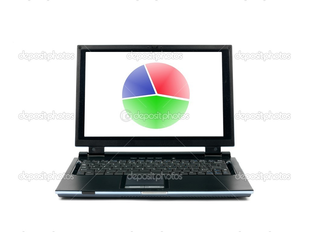A laptop computer isolated against a white backgroun d — Stock Photo #4124585